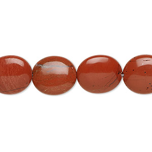 bead, red jasper (natural), 14x12mm flat oval, b grade, mohs hardness 6-1/2 to 7. sold per 16-inch strand.