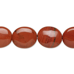 bead, red jasper (natural), 16x14mm flat oval, b grade, mohs hardness 6-1/2 to 7. sold per 16-inch strand.