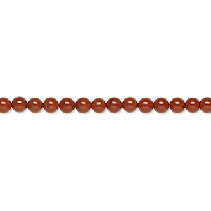 bead, red jasper (natural), 3mm round, b grade, mohs hardness 6-1/2 to 7. sold per 16-inch strand.