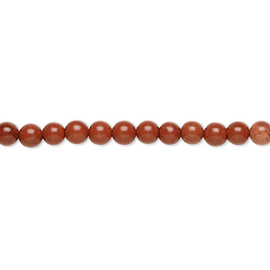 bead, red jasper (natural), 4mm round, b grade, mohs hardness 6-1/2 to 7. sold per 16-inch strand.