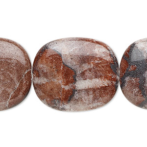 bead, red picture jasper (natural), 28x24mm flat rounded rectangle, b grade, mohs hardness 6-1/2 to 7. sold per 16-inch strand.
