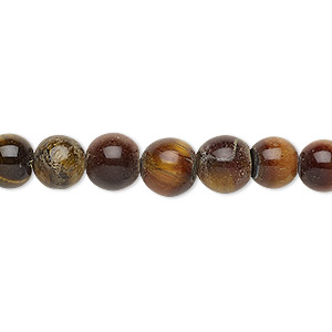 bead, red tigereye (heated), 8-9mm round, d grade, mohs hardness 7. sold per 15-inch strand.