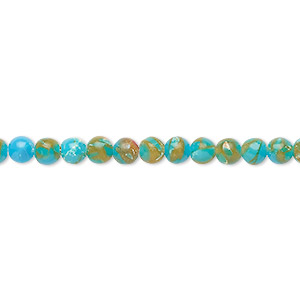 bead, resin and multi-stone (dyed / assembled), turquoise blue / brown / white, 4mm round. sold per 8-inch strand, approximately 50 beads.