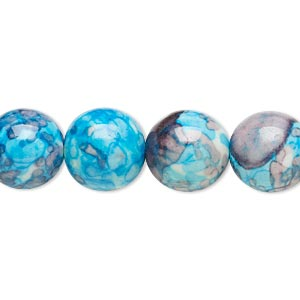 bead, resin and painted ceramic, blue / white / grey, 12mm round. sold per 16-inch strand.