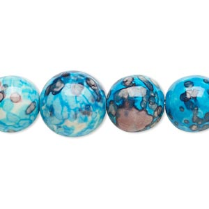 bead, resin and painted ceramic, blue / white / grey, 6-14mm graduated round. sold per 16-inch strand.