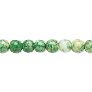 bead, resin and painted ceramic, green / white / yellow, 6mm round. sold per 16-inch strand.