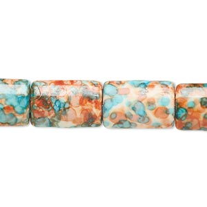 bead, resin and painted ceramic, orange / blue / white, 15x10mm puffed rectangle. sold per 16-inch strand.