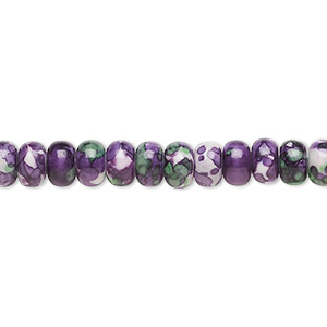 bead, resin and painted ceramic, purple / green / white, 6x4mm rondelle. sold per 16-inch strand.