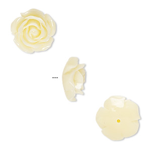 bead, resin, antique white, 12x12mm half-drilled rose. sold per pkg of 4.
