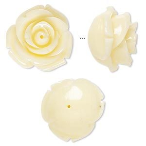 bead, resin, antique white, 19x19mm half-drilled rose. sold per pkg of 2.