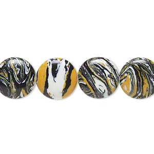 bead, resin, black / white / dark yellow, 12mm flat round. sold per 16-inch strand.