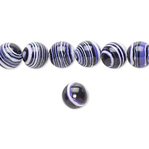 bead, resin, black / white / purple, 8mm round. sold per 16-inch strand.