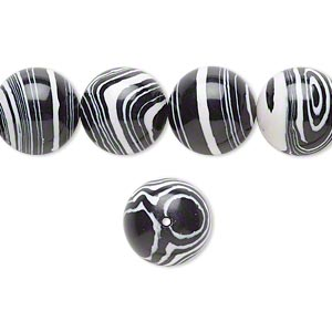 bead, resin, black and white, 12mm round. sold per 16-inch strand.