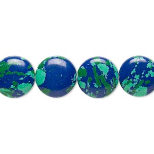 bead, resin, dark blue / green / turquoise blue, 12mm flat round. sold per 16-inch strand.