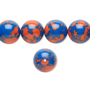 bead, resin, dark blue and orange, 12mm round. sold per 16-inch strand.