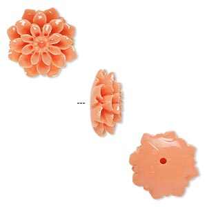 bead, resin, light salmon pink, 15x15mm half-drilled flower. sold per pkg of 2.