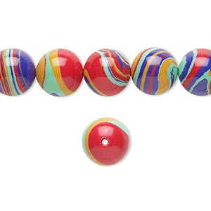 bead, resin, multicolored, 10mm round with swirls. sold per 16-inch strand.