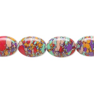 bead, resin, multicolored, 14x10mm flat oval with mosaic design. sold per 16-inch strand.