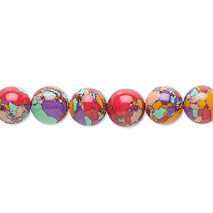 bead, resin, multicolored, 8mm round with mosaic design. sold per 16-inch strand.