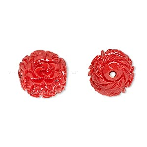 bead, resin, red, 16x14mm oval with flower and leaf design, 2-2.3mm hole. sold per pkg of 4.