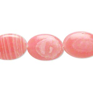 bead, resin, white and pink, 18x13mm flat oval. sold per 16-inch strand.