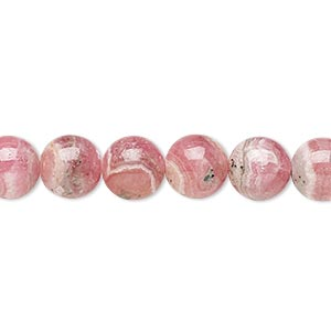 bead, rhodochrosite (natural), 8mm round, c grade, mohs hardness 3-1/2 to 4-1/2. sold per 16-inch strand.