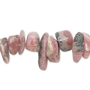 bead, rhodochrosite (natural), large chip, mohs hardness 3-1/2 to 4-1/2. sold per 8-inch strand.