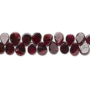 bead, rhodolite garnet (dyed), 7x5mm-8x7mm hand-cut top-drilled flat teardrop, c grade, mohs hardness 7 to 7-1/2. sold per 6-inch strand.