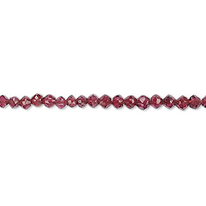 bead, rhodolite garnet (natural), 2-3mm hand-cut faceted bicone, b grade, mohs hardness 7 to 7-1/2. sold per 8-inch strand.