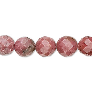 bead, rhodonite (natural), 10mm faceted round, b grade, mohs hardness 5-1/2 to 6-1/2. sold per 16-inch strand.