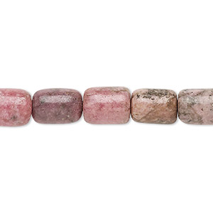 bead, rhodonite (natural), 10x8mm-12x8mm round tube, c- grade, mohs hardness 5-1/2 to 6-1/2. sold per 15-inch strand.