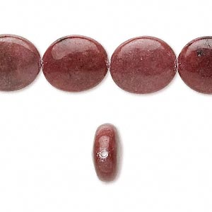 bead, rhodonite (natural), 14x12mm flat oval, b grade, mohs hardness 5-1/2 to 6-1/2. sold per 16-inch strand.