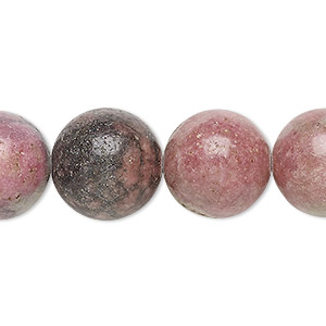 bead, rhodonite (natural), 15-16mm round, d grade, mohs hardness 5-1/2 to 6-1/2. sold per 15-inch strand.