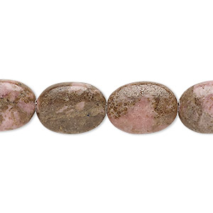 bead, rhodonite (natural), 16x12mm puffed oval, d grade, mohs hardness 5-1/2 to 6-1/2. sold per 15-inch strand.