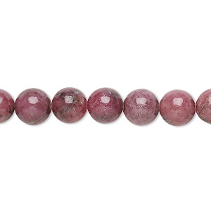 bead, rhodonite (natural), 7-8mm, c grade, mohs hardness 5-1/2 to 6-1/2. sold per 16-inch strand.