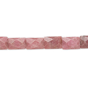 bead, rhodonite (natural), 9x6mm faceted rectangle, b grade, mohs hardness 5-1/2 to 6-1/2. sold per 16-inch strand.