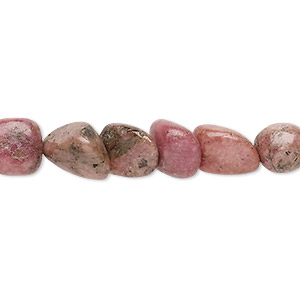 bead, rhodonite (natural), medium chip and mini to small nugget, mohs hardness 5-1/2 to 6-1/2. sold per 15-inch strand.