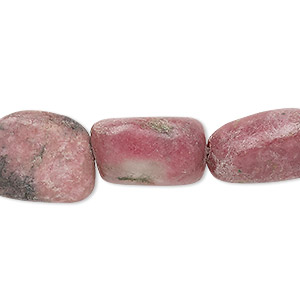 bead, rhodonite (natural), medium to large tumbled nugget, mohs hardness 5-1/2 to 6-1/2. sold per 15-inch strand.