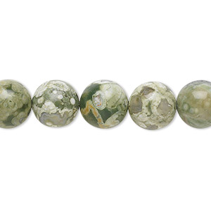 bead, rhyolite (natural), 10mm round, b+ grade, mohs hardness 6 to 6-1/2. sold per 16-inch strand.