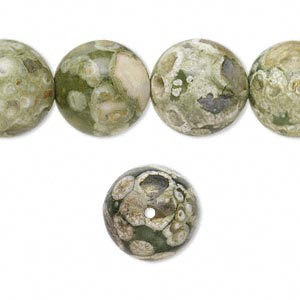 bead, rhyolite (natural), 14mm round, b grade, mohs hardness 6 to 6-1/2. sold per 16-inch strand.