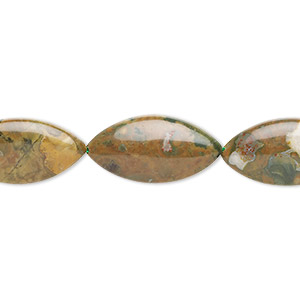 bead, rhyolite (natural), 30x15mm flat marquise, b grade, mohs hardness 6 to 6-1/2. sold per 16-inch strand.