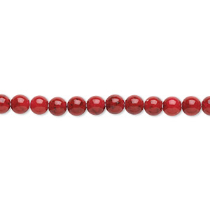 bead, riverstone (dyed), beet red, 4mm round, b grade, mohs hardness 3-1/2. sold per pkg of (2) 16-inch strands.