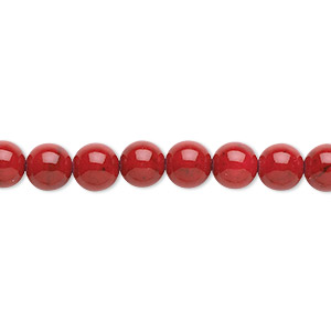 bead, riverstone (dyed), beet red, 6mm round, b grade, mohs hardness 3-1/2. sold per pkg of (2) 16-inch strands.