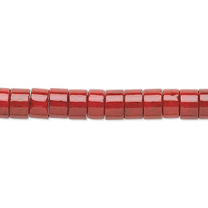 bead, riverstone (dyed), beet red, 6x4mm rondelle, b grade, mohs hardness 3-1/2. sold per 16-inch strand.