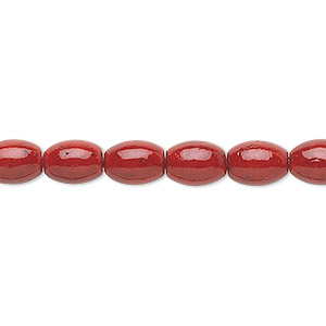 bead, riverstone (dyed), beet red, 8x6mm oval, b grade, mohs hardness 3-1/2. sold per 16-inch strand.