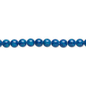 bead, riverstone (dyed), light blue, 4mm round, b grade, mohs hardness 3-1/2. sold per pkg of (2) 16-inch strands.