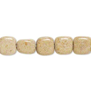 bead, riverstone (dyed), light brown, 10x10mm-11x11mm rounded flat square, c grade, mohs hardness 3-1/2. sold per 15-inch strand.