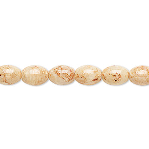 bead, riverstone (dyed), light brown, 8x6mm oval, b grade, mohs hardness 3-1/2. sold per 16-inch strand.