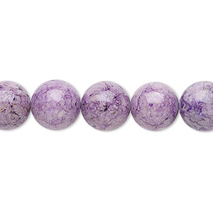 bead, riverstone (dyed), light purple, 10mm round, b grade, mohs hardness 3-1/2. sold per 16-inch strand.