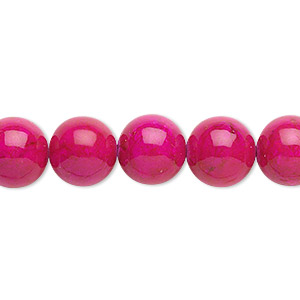 bead, riverstone (dyed), rose, 10mm round, b grade, mohs hardness 3-1/2. sold per 16-inch strand.